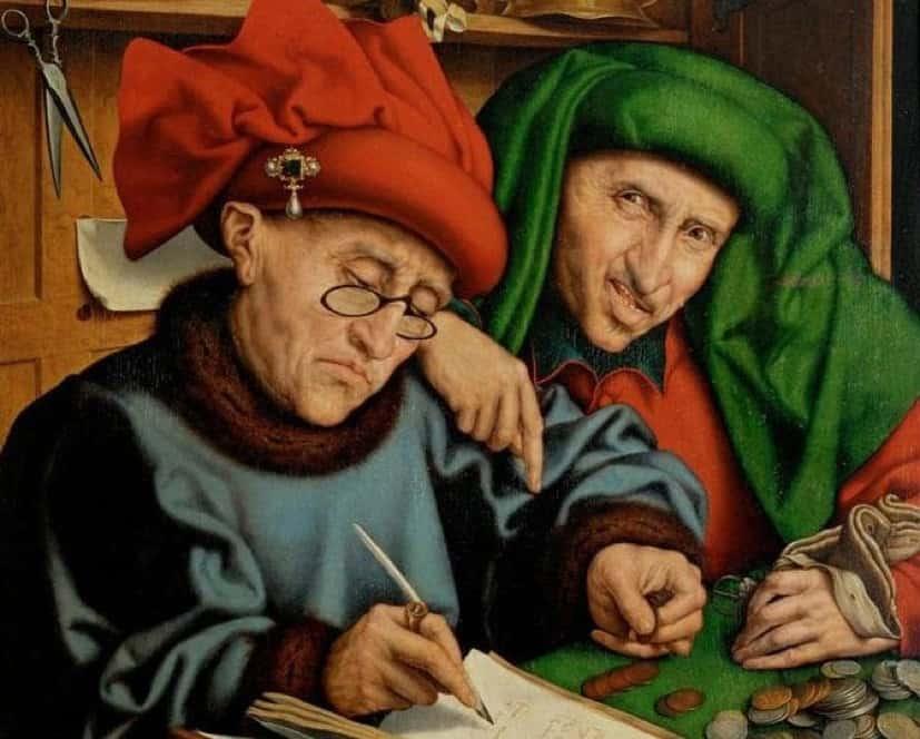 Quinten Massys, Tax Collectors, (late 1520s), Oil on panel, 86 x 71 cm. Liechtenstein Collection.