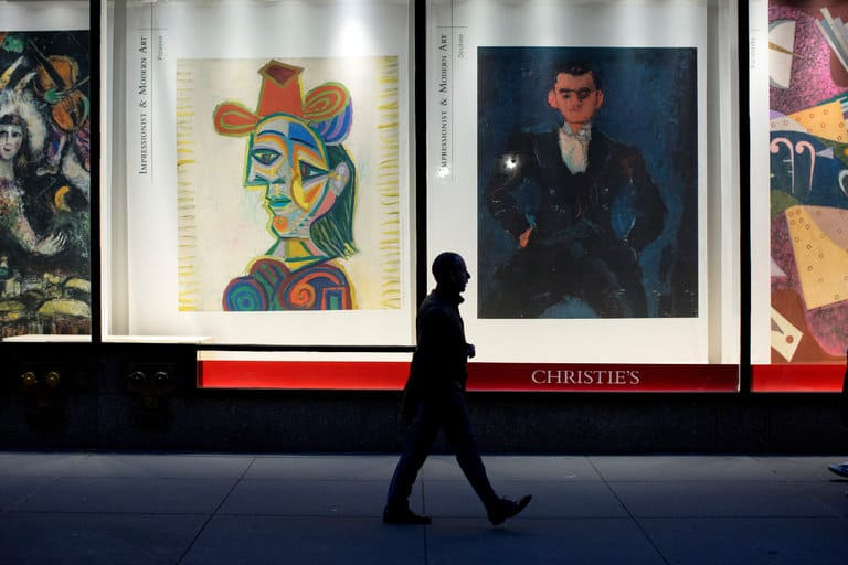 Advertising for an auction at Christie's in New York in November. CreditBrian Harkin for The New York Times