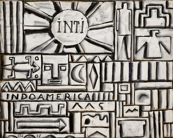 Construcción en blanco y negro (Inti) by Joaquin Torres Garcia. Tempera on cardboard, 1938