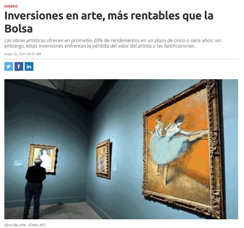 Expansión: Art Investments, More Profitable than Stocks (Spanish)