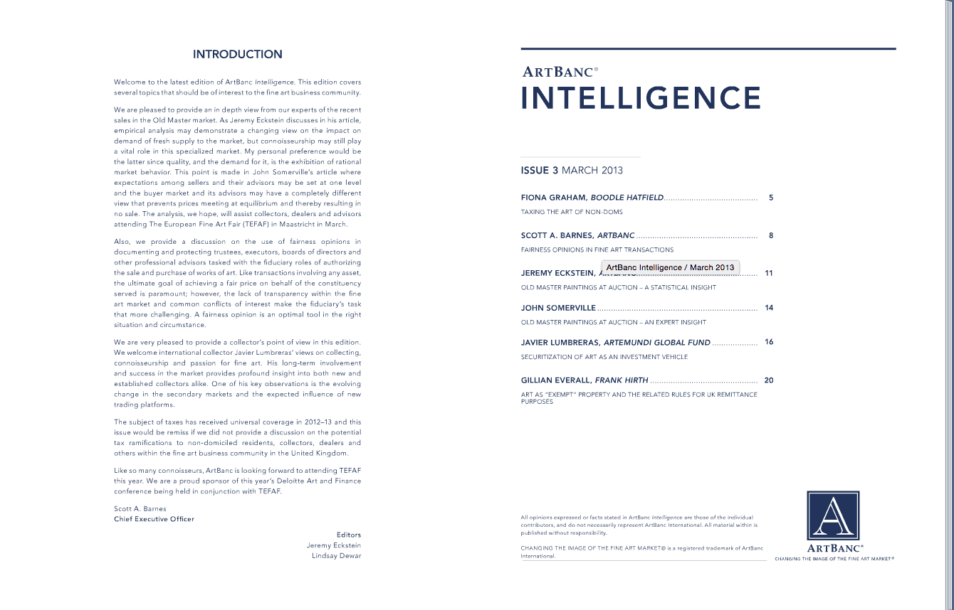ArtBanc Intelligence, Issue 3 : Securitization of Art as an Investment Vehicle